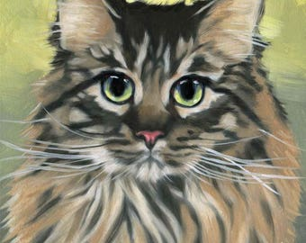 Maine Coon Cat Print - Fine Art Print from Original Oil Painting by Diane Irvine Armitage - Cat Art - Cat Painting