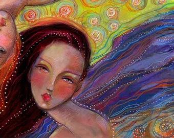 Three Sisters Fine Art Print - Gypsy Boho Print from Original Painting by Diane Irvine Armitage - Beautiful Lady Art
