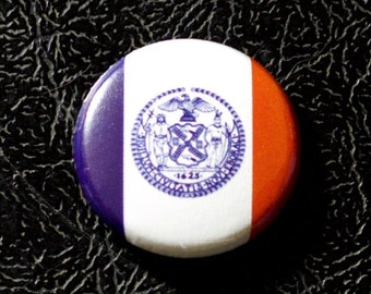 "1"" New York City NY flag button - New York, city, pin, badge, pinback"