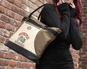 """Apron Tote Bag - """"Motorcycle parts and accessories""""  Vintage Surplus Style -Heavy Duty Canvas Market Bag by Trixie & Milo"""