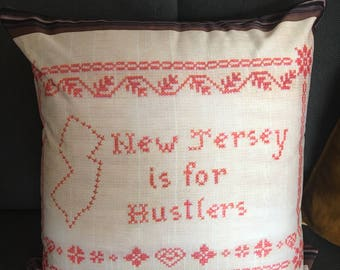 """NJ is for Hustlers Cross Stitch 18x18"""" Throw Pillow"""