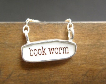 Book Worm Necklace - Reversible Sterling Silver and Enamel Script Necklace