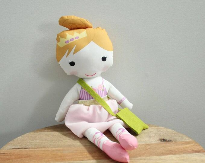 Ballerina Doll tutu bag rag doll stuffed doll young girl birthday gift blond purple stripe leotard pink tutu skirt cloth doll fabric doll