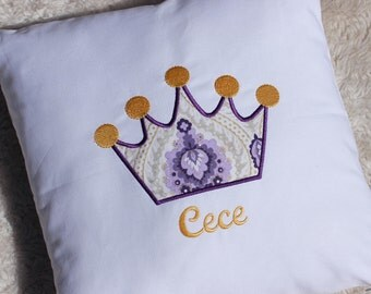 Personalized Crown Pillow, Customizable Size,  White, Purple and Gold Princess Pillow with Name, Pillow Insert included
