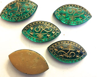 Vintage cabochons (3 / 6 / 12)   beautiful glass cab stone emerald green gold mosaic egyptian revival west german navette intaglio (3+)