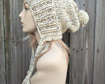 Tweed Oatmeal Slouchy Ear Flap Hat With Pom Pom - Knit Womens Winter Beanie - Charlotte - READY TO SHIP