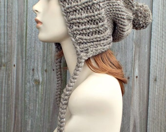 Gemstone Metallic Taupe Brown Slouchy Womens Knit Hat - Charlotte Ear Flap Pom Pom Beanie - READY TO SHIP