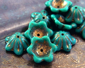 Turquoise de Bronze (10) -Czech Glass Domed Flowers 12x11mm