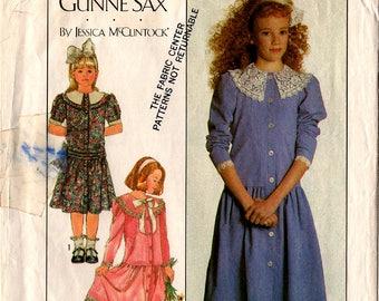 1987 Girls' GUNNE SAX DRESS Pattern Simplicity 8193 Size 8-10-12 Jessica McClintock Sunday/School Dress Vintage Sewing
