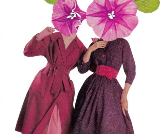 Colorful Flower Art, Bright Color Floral Artwork, Fashion Collage