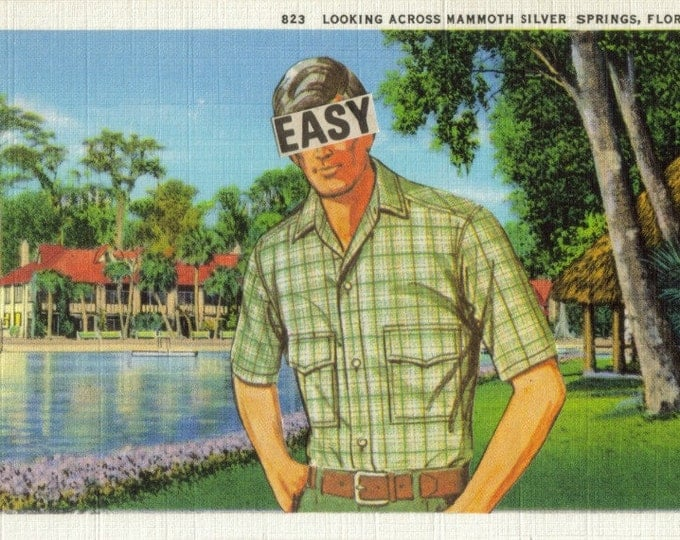 Retro Postcard Artwork, Florida Art Collage