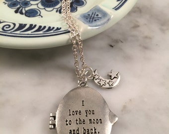 I Love You to the Moon and Back Necklace, I Love You to the moon and back locket, Gift for child, mother gift,  gift under 30, aunt gift