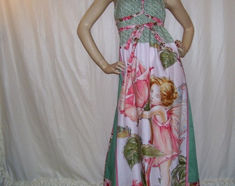 Rose Fairy Maxi Dress Patchwork Blossom Fae Fairies Rose Green Hippie OOAK Long Maternity Summer Cruise Resort Maxi Dress Adult M L XL