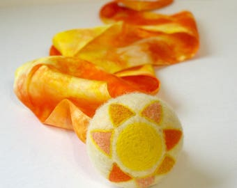 Waldorf Inspired Comet Ball: Sun Shine Day (All Natural Wool and Silk Toy)