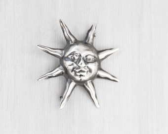 Vintage Sterling Silver Sun Brooch - Taxco Mexico hollow puffy smiling face pin - TO-68 Mexican silver 925