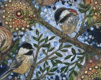 "Archival 6x6 inch Print on Wood ""Night Birds #3"""