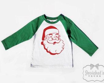 Santa Shirt Christmas - Baseball Green Sibling Shirt - Boy Girl Retro Matching - Brother Sister Shirts - Toddler Infant Kids Santa Vintage