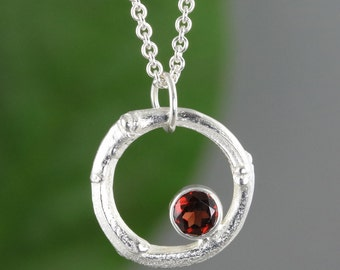 Sterling Silver Twig Circle Pendant With Garnet - January Birthstone - Organic Jewelry - Bridesmaid Gift - Natural Wedding - Ready to Ship