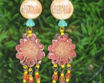 Artisan Earrings Ceramic Word Beaded Sunflower Copper BOHEMIAN Dangles