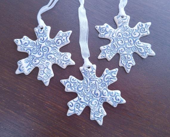 Ceramic Snowflake Ornament - Stoneware - Snowflake - Ornament - Blue - Swirl - Christmas Ornament - Winter - Snow - X-Mas Ornament - Glitter