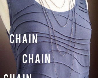 Gunmetal Chain Necklace - CHAIN ONLY - You Choose Chain and Length, interchangeable, lobster clasp
