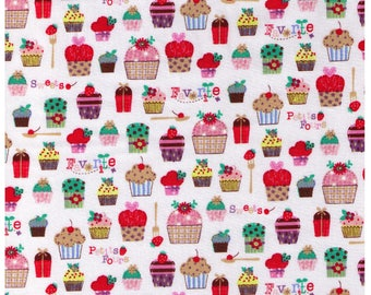 HALF YARD - Favorite Sweets and Petite Fours on WHITE - Cupcakes Cherries Strawberries - Cosmo Textiles Japanese Import Fabric