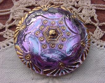 Blue Lilac Golden Celtic Pattern Czech Glass Button