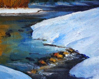 Western River, Landscape, Oil Painting, Original 5x7, Canvas, Winter Scene, Rural Outdoor, Snow Trees, Northwest, Outdoor, Blue Gold, Oregon