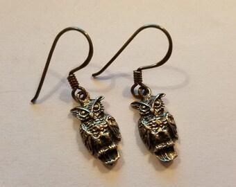 Sterling Silver Owl Earrings Gothic Bird Jewelry