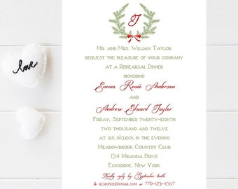 10 Christmas Rehearsal Dinner Invitations - Christmas Rehersal Invitation - Winter Wedding Rehearsal Inviation - December Rehearsal Invite