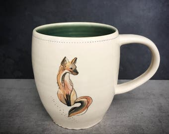 Fox mug- watercolor - READY TO SHIP