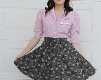 Vintage Skirt. Black Floral Skirt. Black Cream Flower Skirt. Retro Flower Skirt. Retro Skirt. Womens Skirt. Vintage Clothing