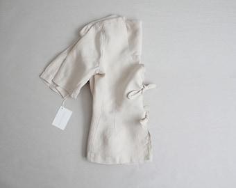 beige linen jacket | bow tie jacket | beige linen blazer