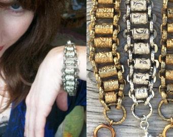 Victorian Bracelet circa 1880s- 1920s Love Worn Gold Book Chain Regalia chain- Wide link bookchain chunky Repurposed sword chain b24