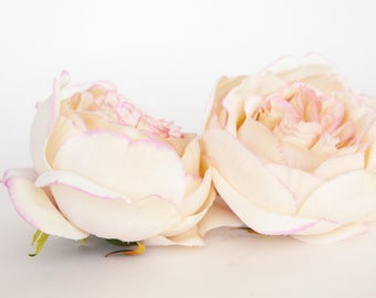 Large Fully Bloomed Stunning English Rose in Cream with Pink - Artificial Flowers - ITEM 01112