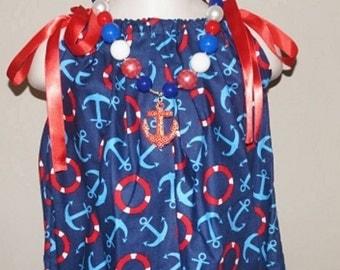 Pillowcase dress nautical dress chunky bead necklace dress necklace set red white blue dress