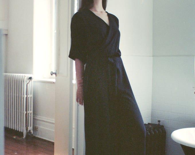 Featured listing image: NEW Jumpsuit Samuel. Flared Wrap Jumpsuit. Belted Black Pantsuit. Casual Spring Fashion. Minimal Basic. Wide Leg Jumpsuit. Loose Jumpsuit