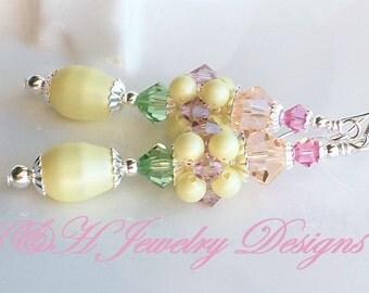 Easter Earrings, Pastel Crystal Earrings, Pastel Pearl Earrings, Pastel Easter Earrings, Crystal Pearl Cluster Earrings, Yellow Earrings