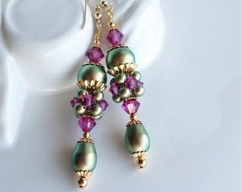 Green Fuchsia Crystal Pearl Earrings, Green Pearl Earrings, Fuchsia Hot Pink Crystal Glass Earrings, Iridescent Green Gold Long Earrings