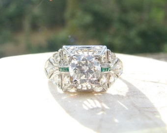Antique Platinum Diamond Emerald Engagement Ring, Intricate Detail, Old European Cut Diamonds, 1.11 ctw, Circa 1915, GIA Appraisal