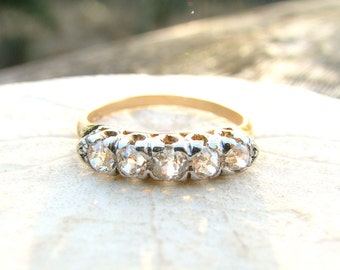 Art Deco Diamond Wedding Band, Bright & Fiery Old European Cut Diamonds, appr .62 ctw, 14K Gold, Lovely Stacking Ring orAnniversary Band