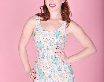 Pink & green cactus print Womens one piece retro pinup swimsuit with ruffle trim