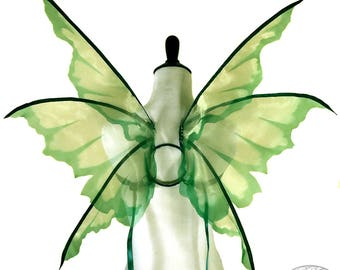 Chastity No. 14 - Medium Organza Fairy Wings in Green - Convertable Strappless