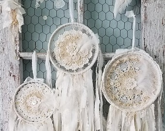 Three's A Charm - Vintage Fabric, Crochet and Lace Shabby Chic Wedding Dream Catcher Set