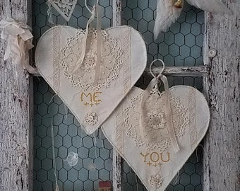 Love Stitched Hearts - Me and You Bride and Groom Chair Signs Wire Lace Heart Wedding and Home Shabby Chic Decor