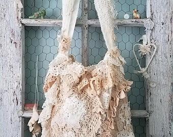 Shoulder Bag, Vintage Lace Boho Purse, Mori Girl Style Crossbody Bag, Romantic Purse, Shabby Chic Hobo Bag, Crochet Doily Embellished Bag