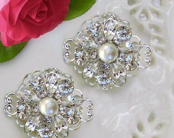 Small Bridal Barrettes, Crystal Hair Clips, Pearl combs, silver hair clips, Wedding Barrette, Small Comb Set, Wedding hair clips