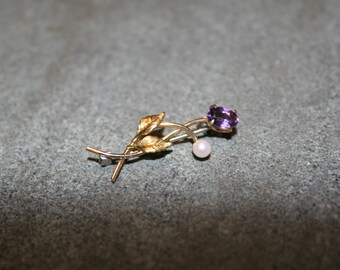 1970s, Tiny Brooch, floral pin, floral brooch, Vintage Pin, Vintage Brooch, Amethyst Pin, Amethyst Brooch, Pearl pin, Pearl Brooch, Gold Pin