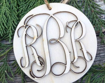 Monogram Ornament - Initials Ornament - Stocking Personalization - Wooden Initials - Wood Monogram - Wood Name tag