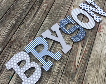Custom Distressed Wooden Letters for girls or boys - Browns and blues or Custom made to match your decor